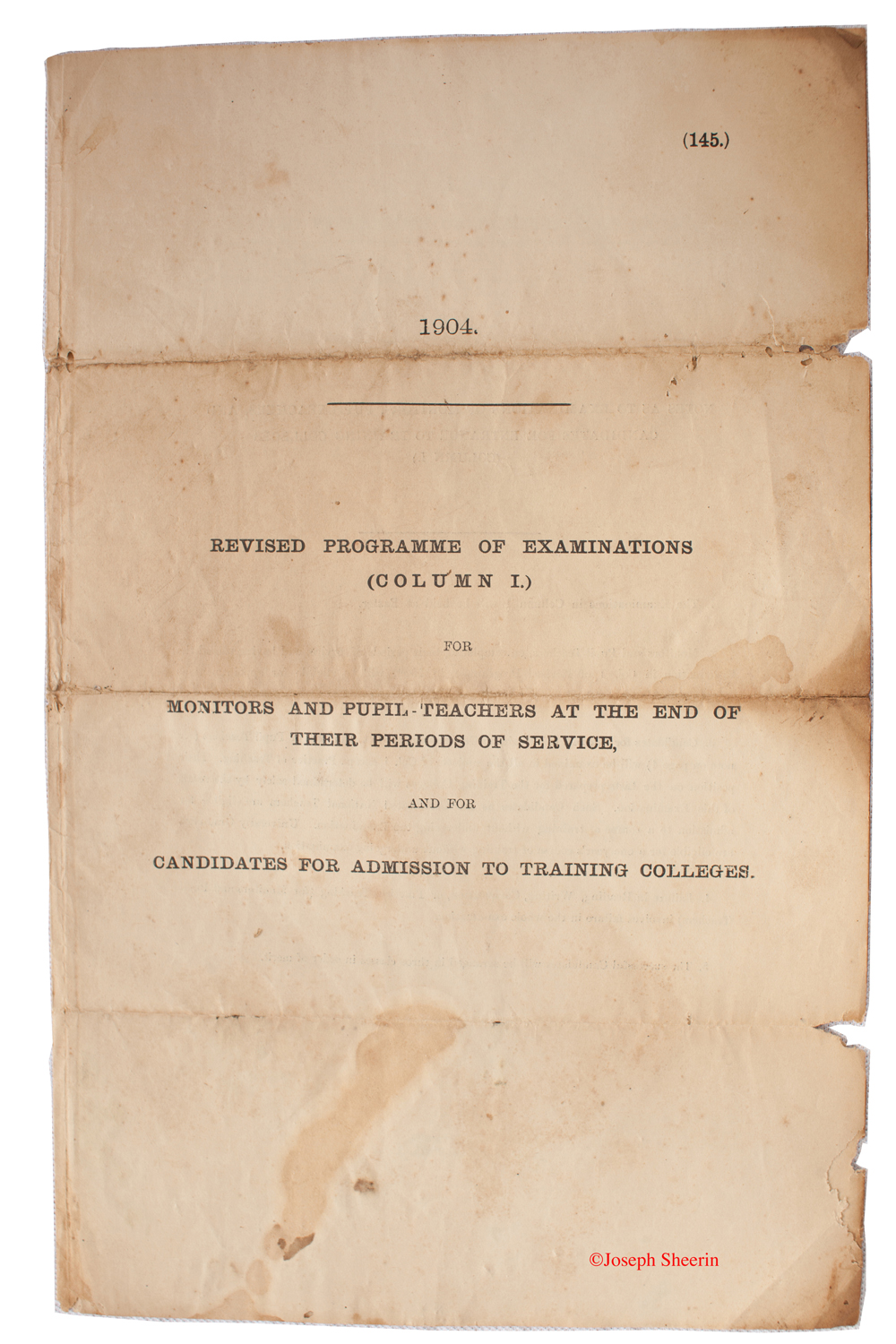 Front cover to Exam Paper 1914