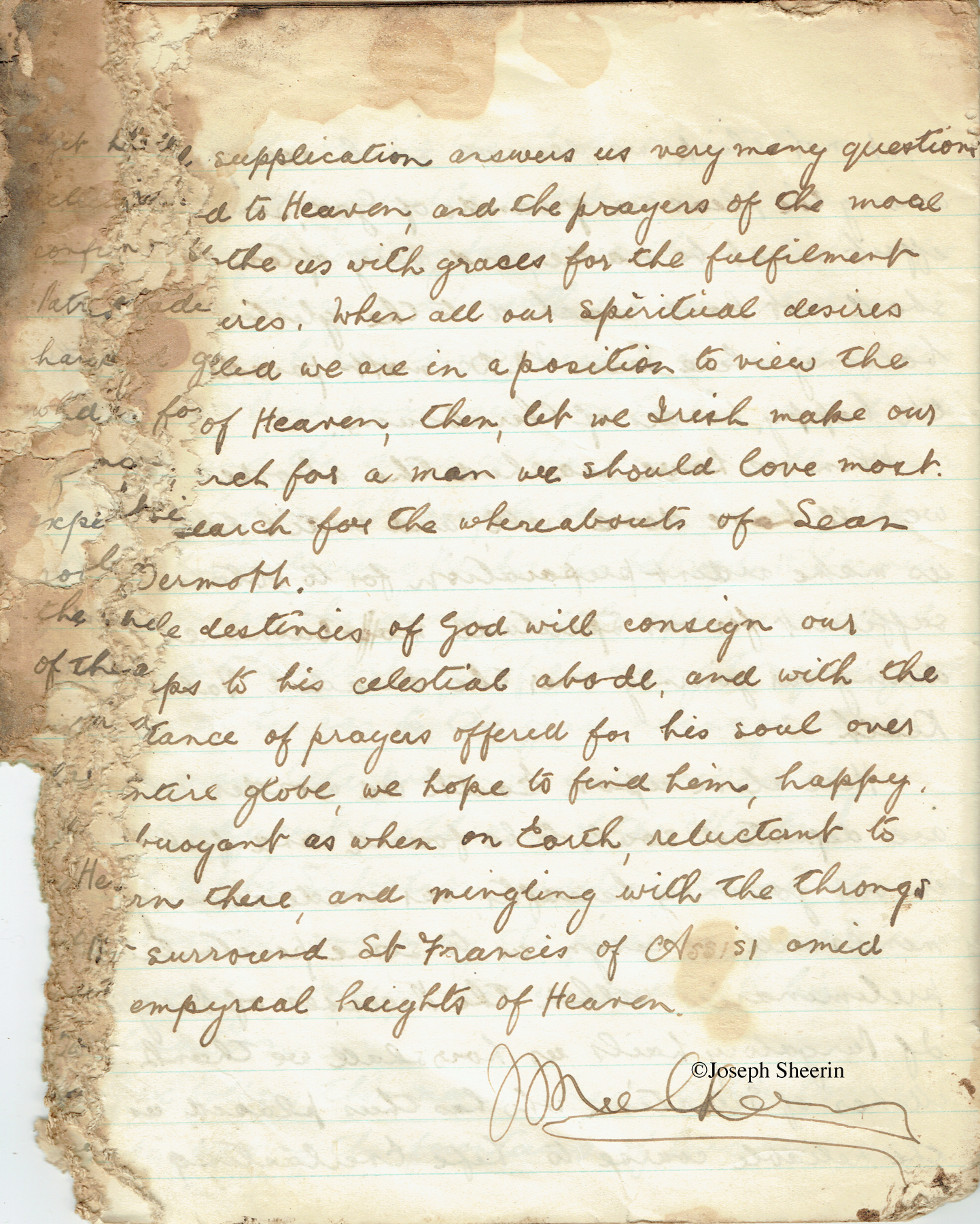 Johnny Mulhern copybook