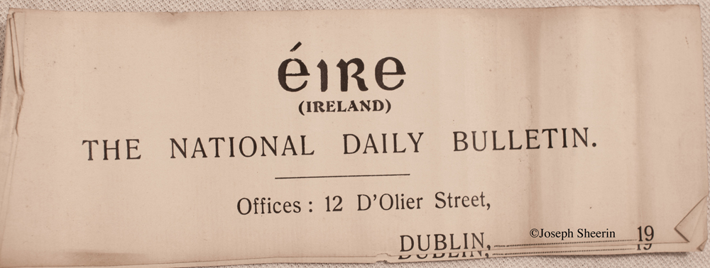 A number of 'The National Daily Bulletin 12 D'Olier Street Dublin' Newspaper headed pages