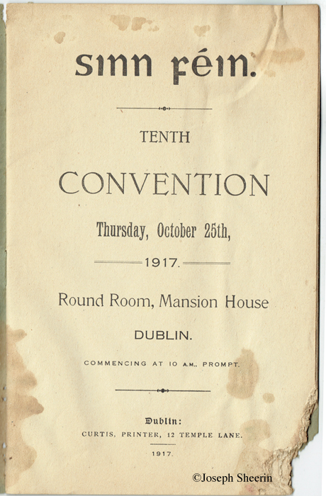 Sinn Fein Tenth Convention 25th Oct 1917 Mansion House