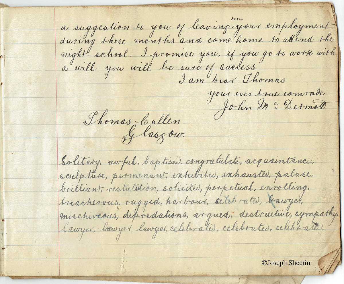 Letter to Thomas Cullen Glasgow 3-11-1902 2